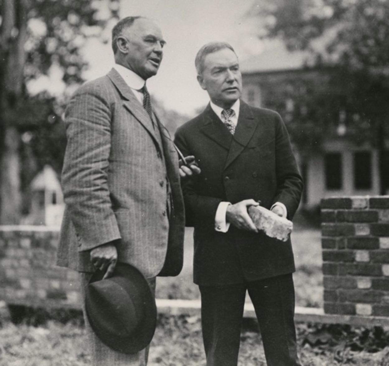 Dr. W.A.R. Goodwin, left, and John D. Rockefeller, Jr., discussing plans for the Williamsburg restoration, 1928. Photo: The Colonial Williamsburg Foundation. Courtesy of the Rockefeller Archive Center, WilliamsburgVisitor