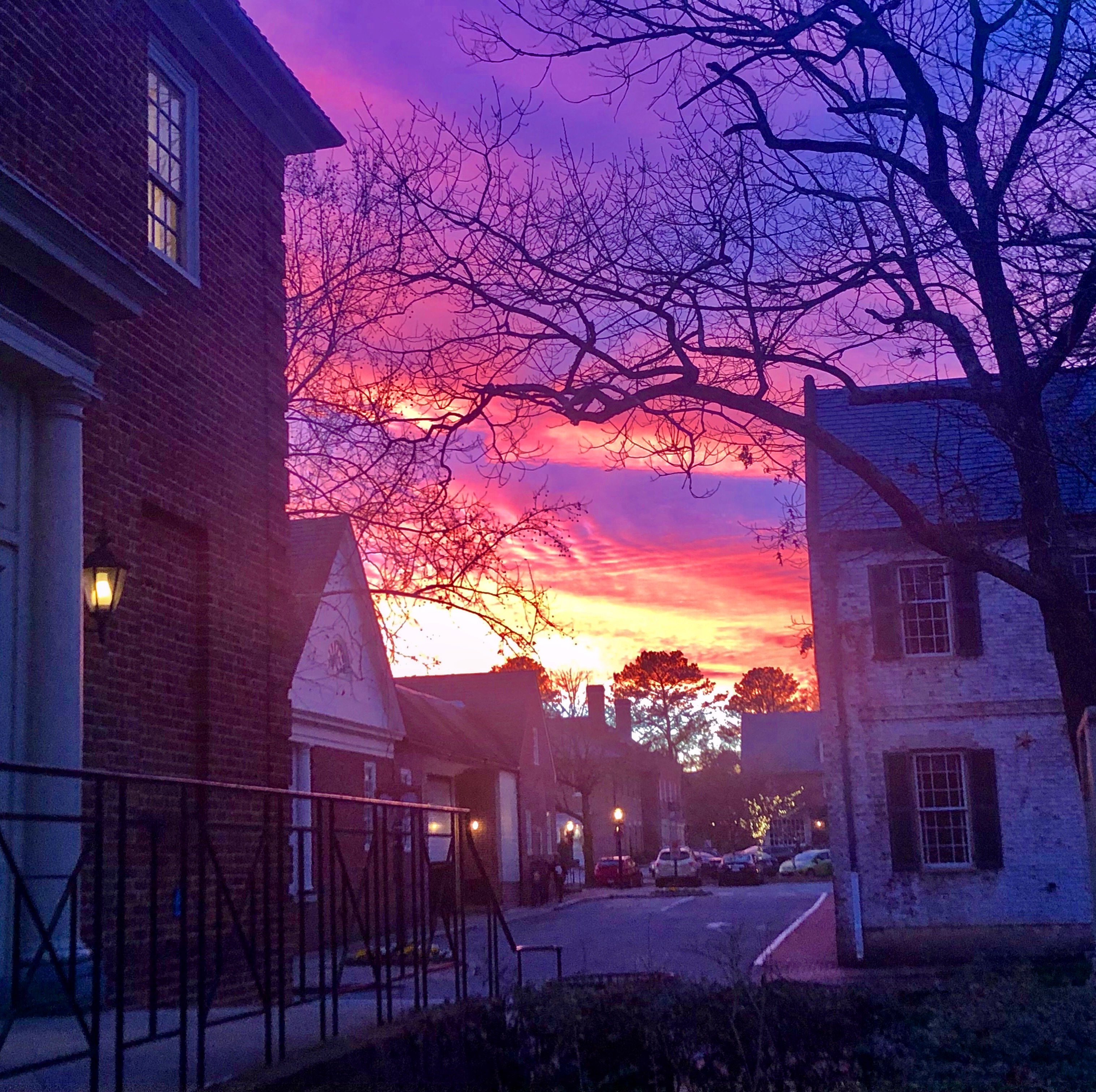 Beautiful winter sunsets in Williamsburg Virginia Merchant Square