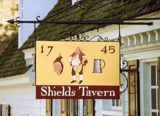 Sign outside of Shields Tavern, Colonial Williamsburg