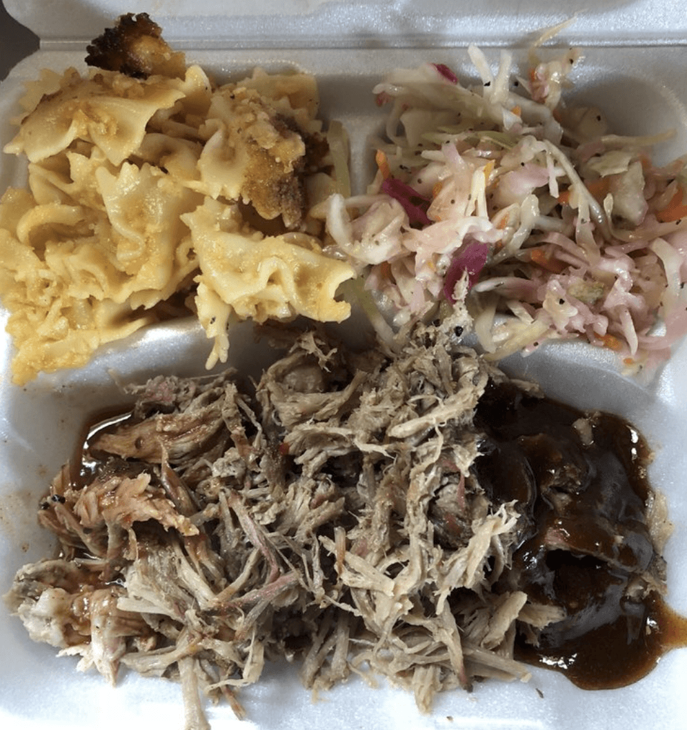 matchsticks bbq meal with pasta and bbq