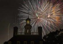 fireworks at colonial williamsburg on July 4th