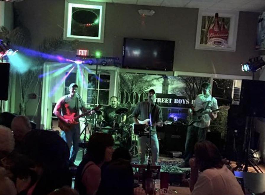 Dog Street Boys on stage performing live in Williamsburg Virginia in Cogan's Restaurant