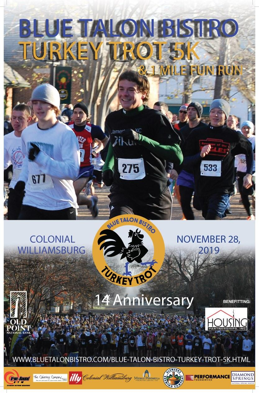 blue talon turkey trop 5k and fun run thanksgiving colonial williamsburg virginia