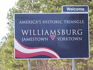 williamsburg virginia americas historic triangle sign