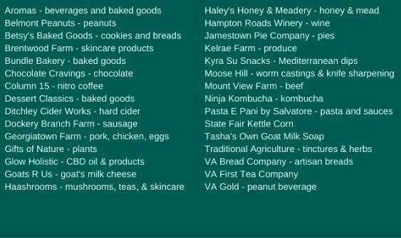 Williamsburg Virginia things to do williamsburg farmers market vendor list