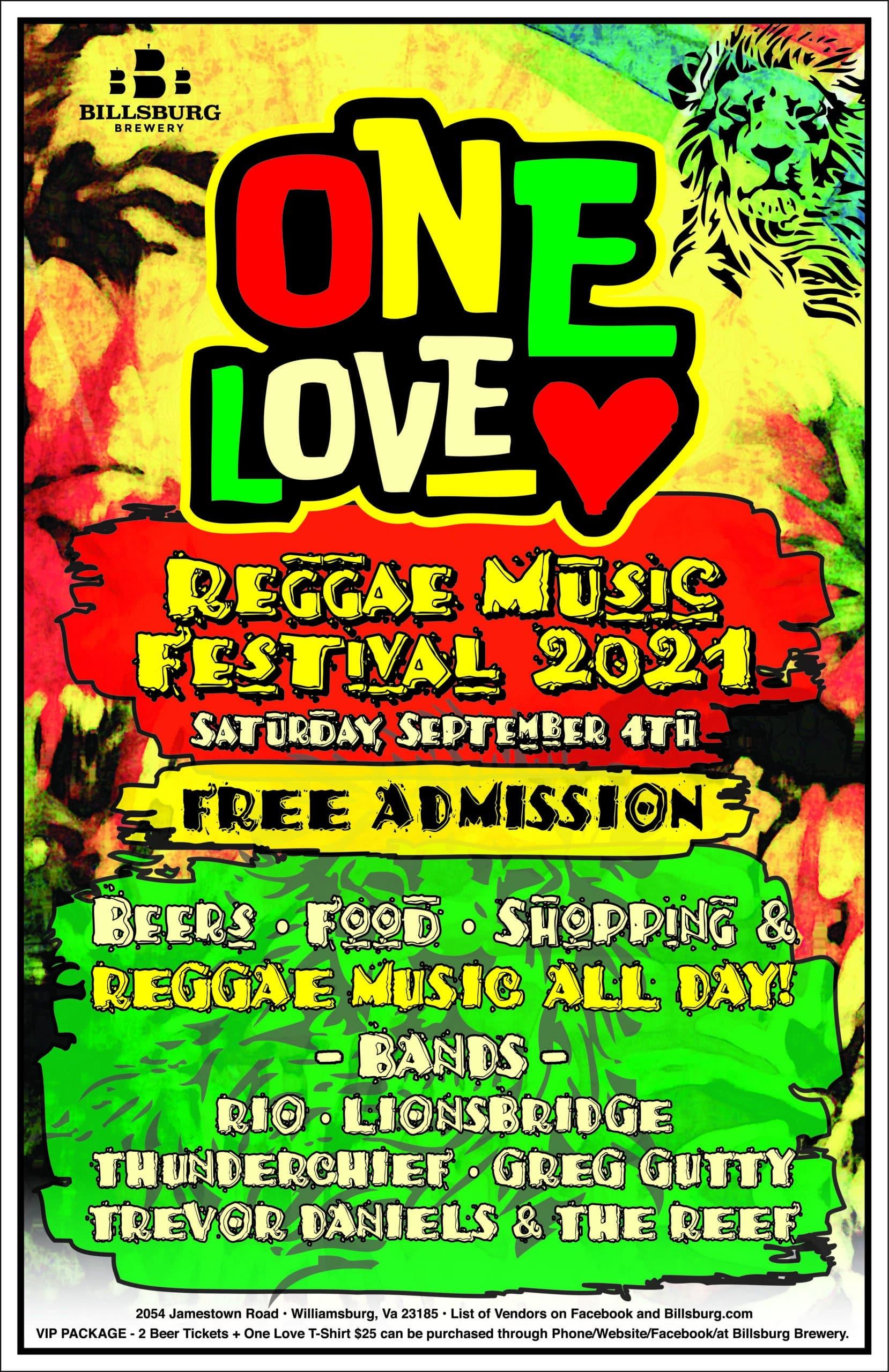 Williamburg Virginia One Love Reggae Music Festival 2021
